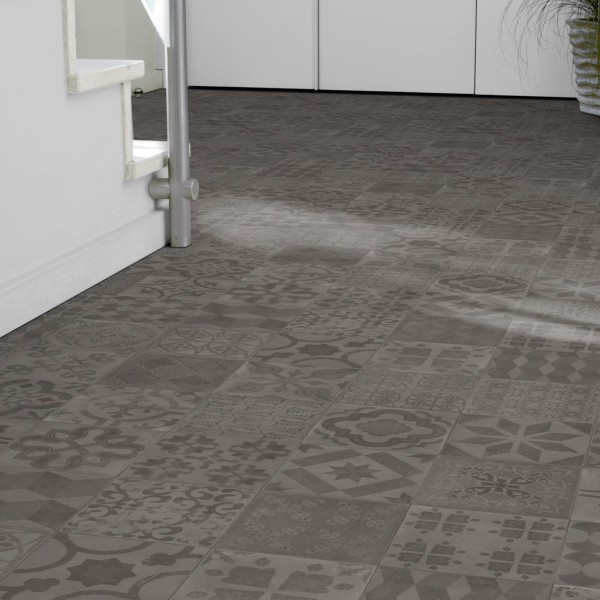 PVC Bodenbelag Almeria Smoke Retro Fliese Grau mit Textilrücken