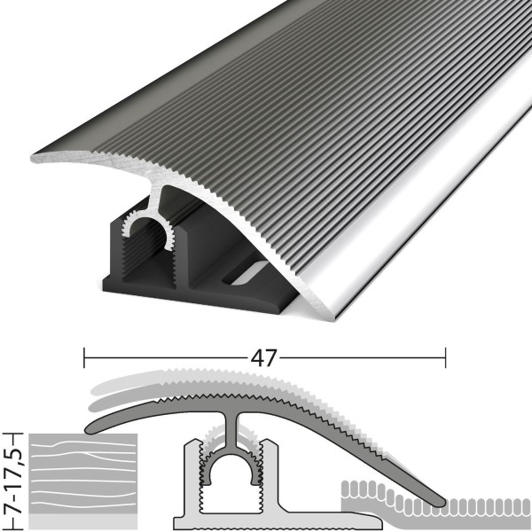 Anpassungsprofil 7-17,5 mm Profi-Tec Master Edelstahl Poliert 100 cm - 3041009100