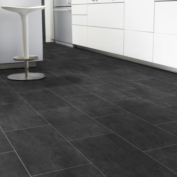 PVC Bodenbelag Fliese Schwarz Melbourne Noir