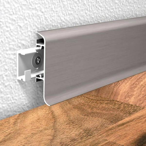 Aluminium Clip Sockelleiste Fußleiste Silber 250 cm Prinz