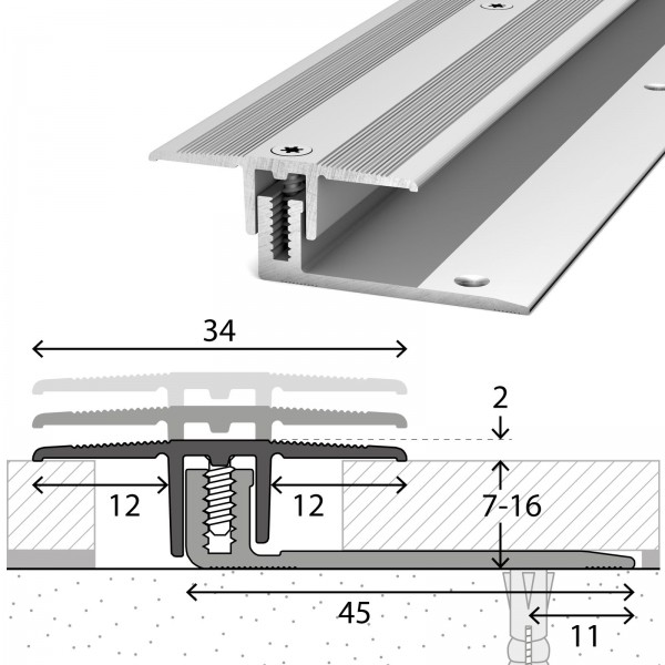 Übergangsprofil 7-16 mm LPS 220 Silber 270 cm - 2302311270
