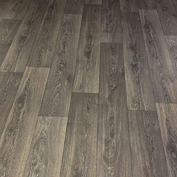 PVC Bodenbelag Holz Maxiplanken Schwarz Grau - Rolle