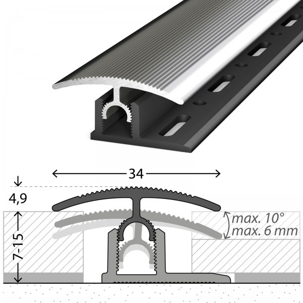 Übergangsprofil 7-15 mm Profi-Tec Master Edelstahl Poliert 270 cm - 3002009270