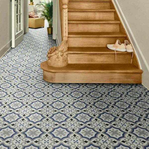 PVC Bodenbelag Fliese Alhambra Blau mit Textilrücken