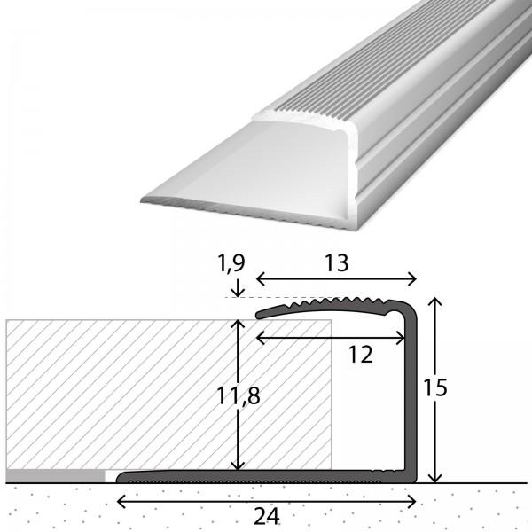 Abschlussprofil 10-12 mm Silber 90 cm
