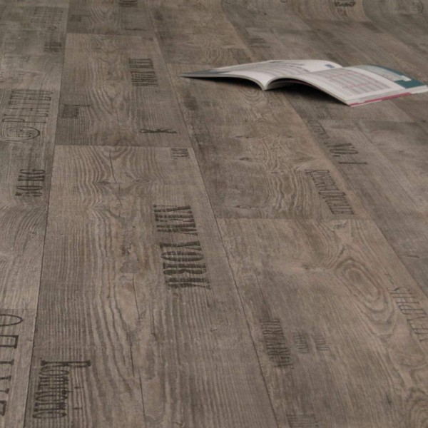 PVC Bodenbelag Rustikal Grau mit Aufdruck