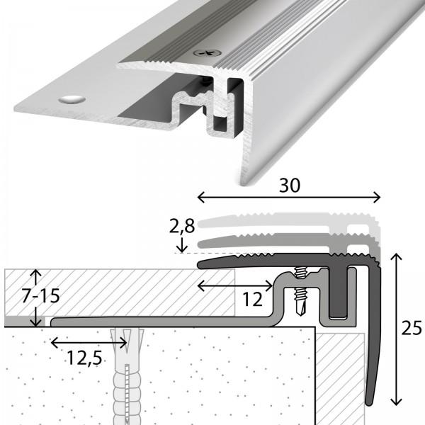 Treppenabschlussprofil 7-15 mm PS400 Edelstahl 250 cm
