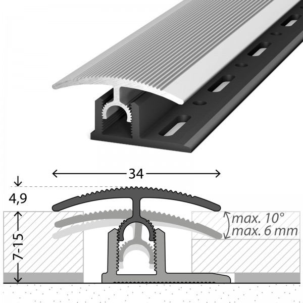 Übergangsprofil 7-15 mm Profi-Tec Master Silber 270 cm - 3002011270