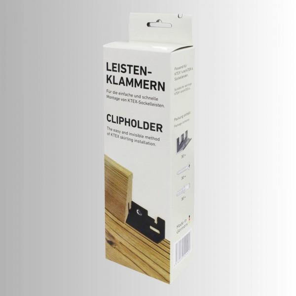 Kronotex Leistenklammern Set 30 Clips + Schrauben + Dübel