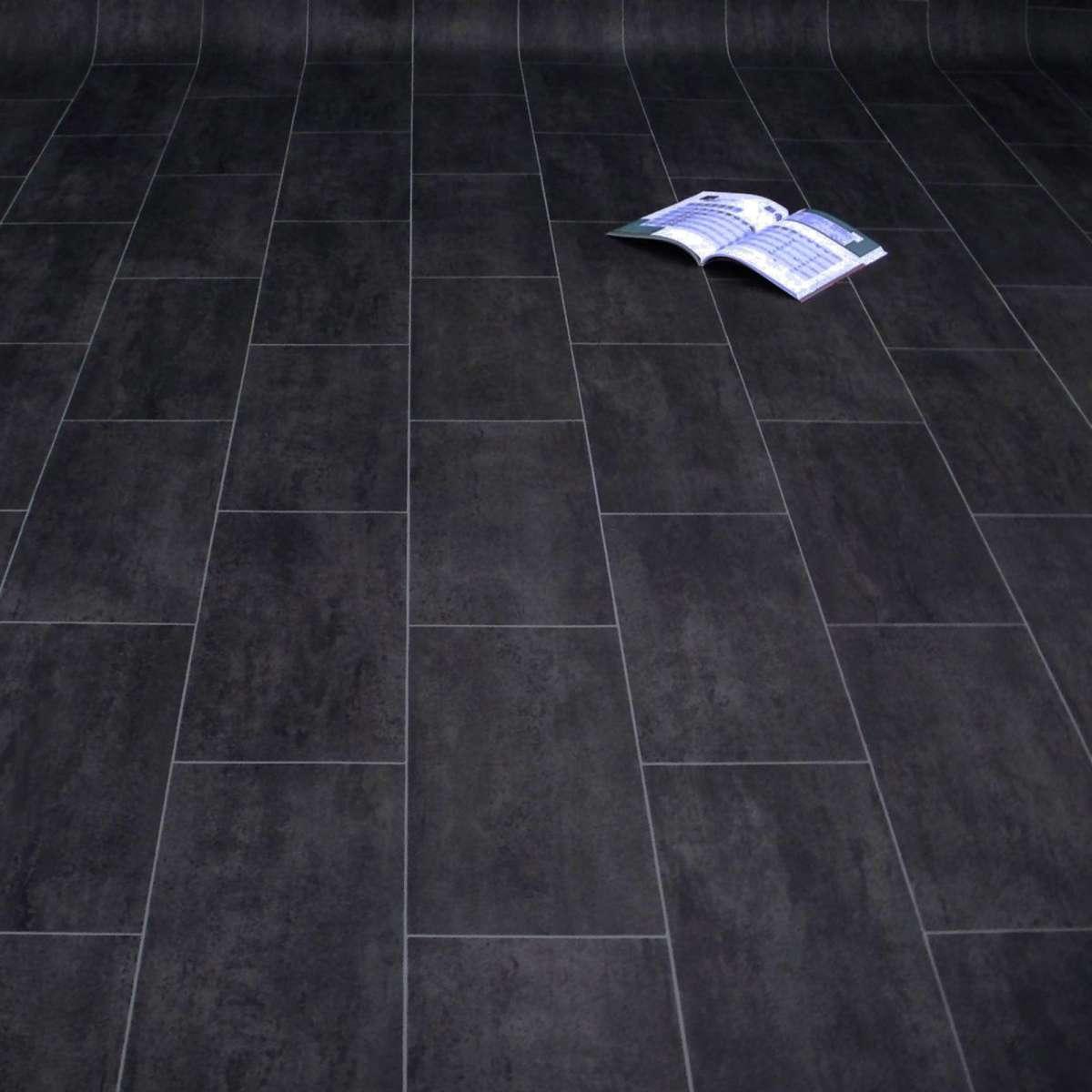 Hervorragend PVC Bodenbelag Fliese Schwarz Melbourne Noir | Fliese Stein | PVC  IR46