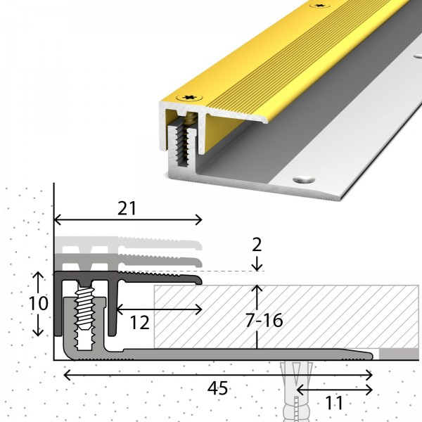 Abschlussprofil 7-16 mm LPS 220 Gold 270 cm - 2322310270