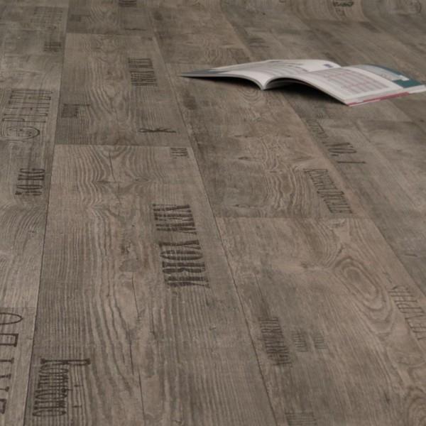 PVC Bodenbelag Rustikal Grau mit Aufdruck - Rolle