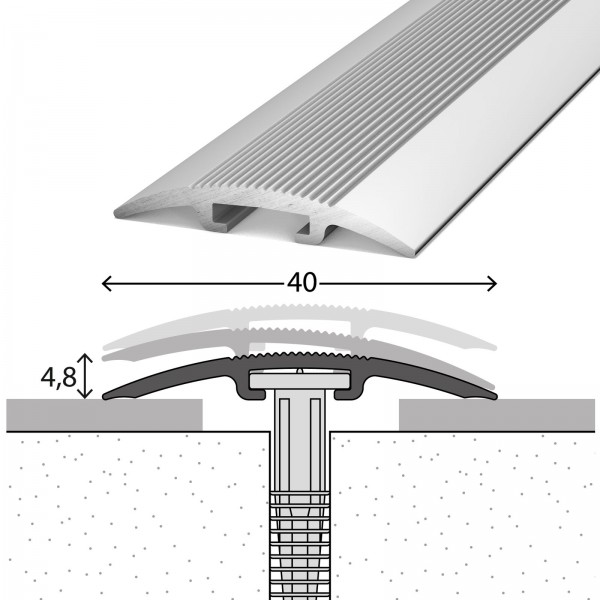 Übergangsprofil 0-17,5 mm D.O.S 40 mm Silber 270 cm - 1032011270