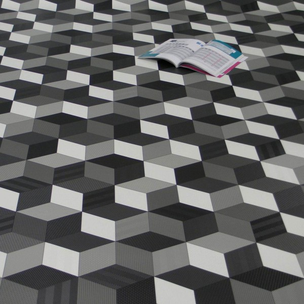 PVC Bodenbelag Cube 3D Würfel Schwarz Weiß Grau - Rolle