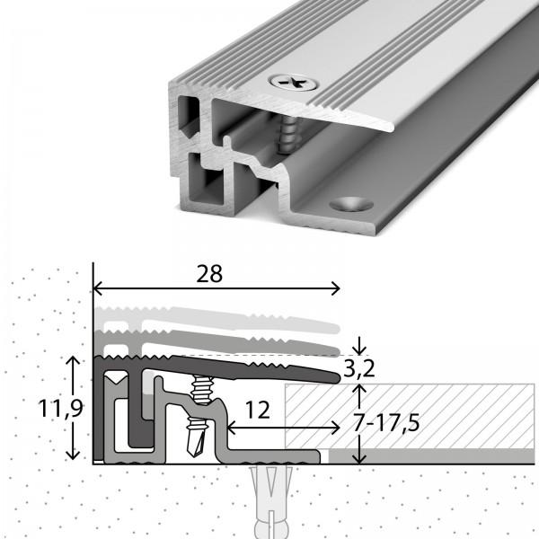 Abschlussprofil 7-17,5 mm PS400 Silber 270 cm - 4042311270