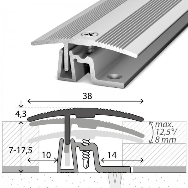 Übergangsprofil 7-17,5 mm PS400 Silber 270 cm