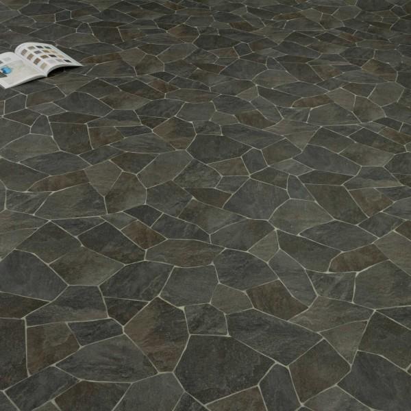 PVC Bodenbelag Tarkett 280T Broken Slate Fliese Bruchstein Anthrazit mit Textilrücken