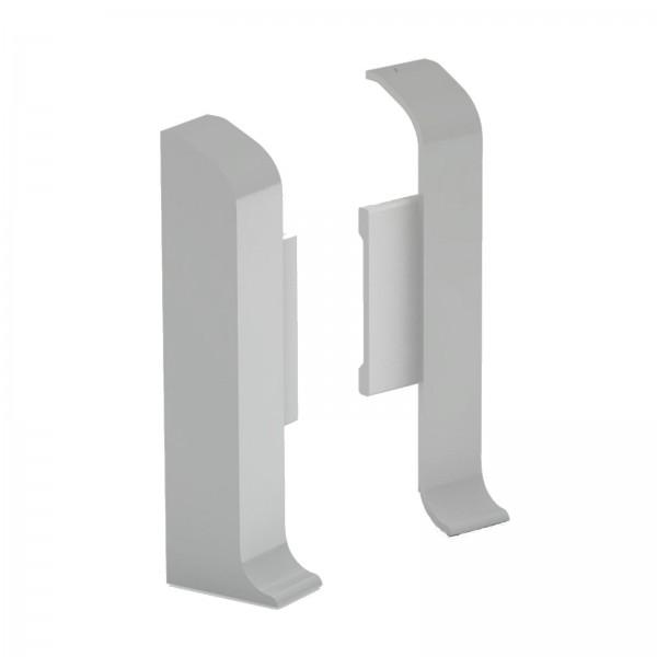 Aluminium Clip Sockelleiste 1 Paar Endkappen Silber Prinz