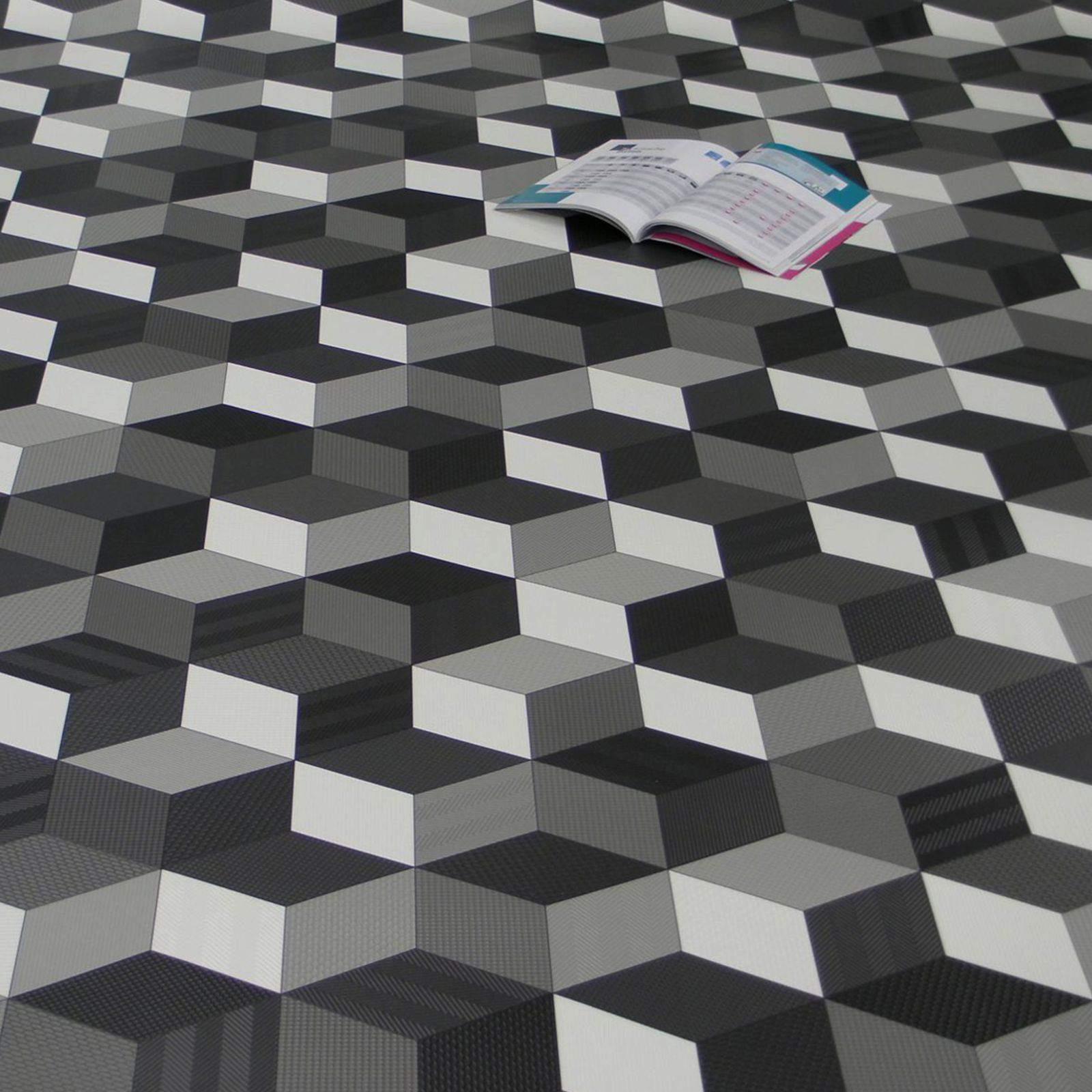 PVC Bodenbelag Cube 3D Würfel Schwarz Weiß Grau
