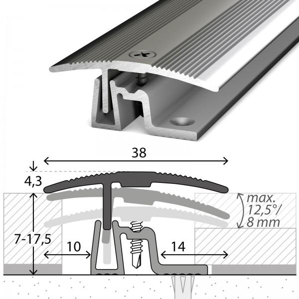 Übergangsprofil 7-17,5 mm PS400 Edelstahl Poliert 100 cm - 4011309100