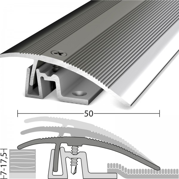 Anpassungsprofil 7-17,5 mm PS400 Edelstahl Poliert 270 cm - 4021309100