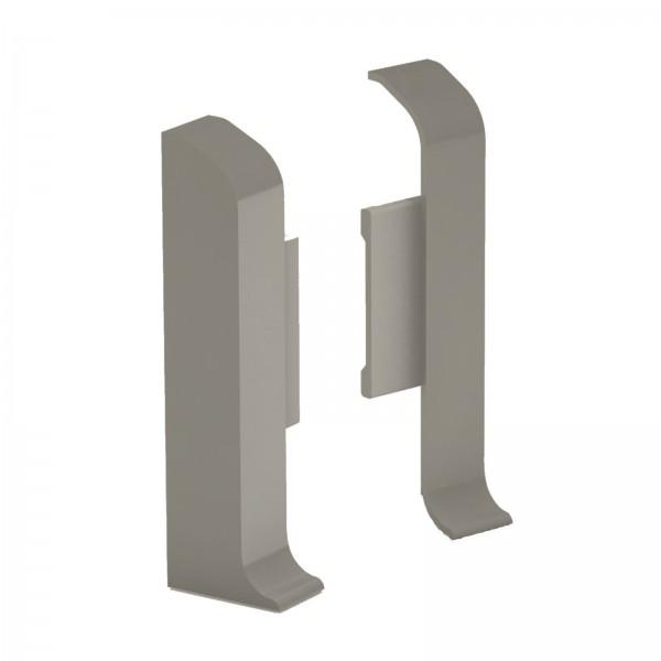 Aluminium Clip Sockelleiste 1 Paar Endkappen Edelstahl Matt Prinz