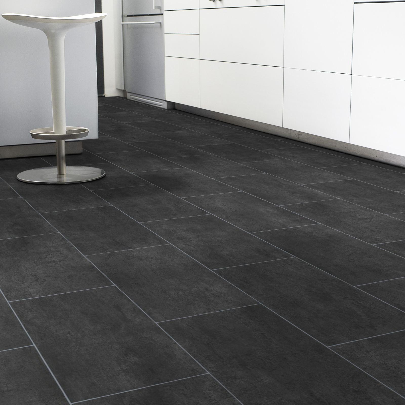 pvc bodenbelag fliese schwarz melbourne noir fliese stein pvc cv bel ge design pvc vinyl. Black Bedroom Furniture Sets. Home Design Ideas