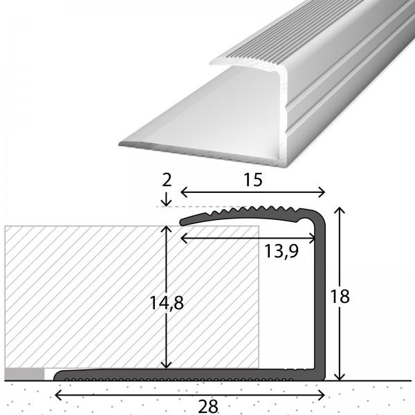 Einfassprofil 14-15 mm Silber 90 cm