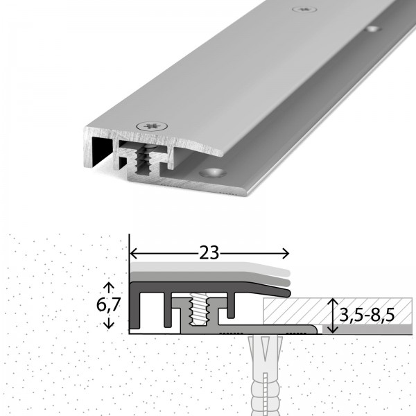 Abschlussprofil 3,5-8,5 mm LPS Design Silber 100 cm - 3281311100