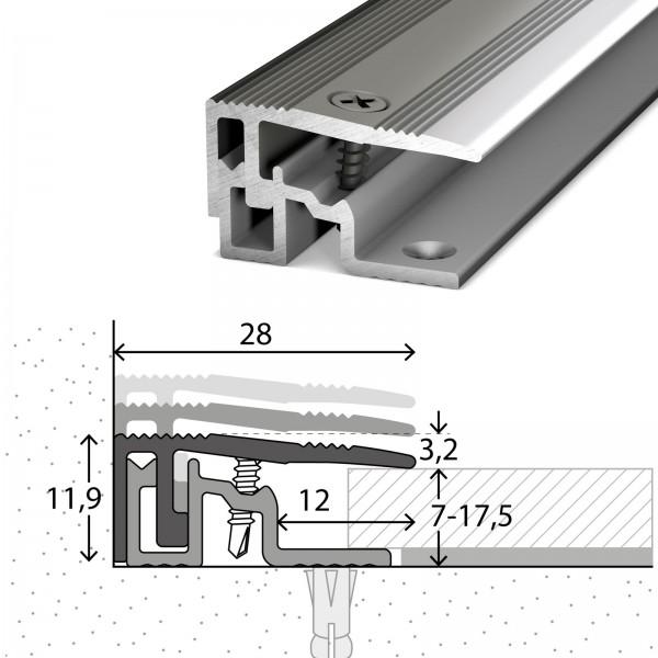 Abschlussprofil 7-17,5 mm PS400 Edelstahl Poliert 100 cm