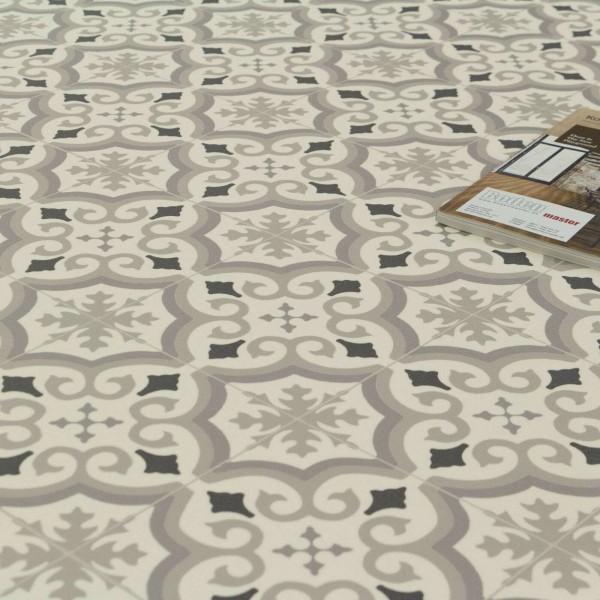 PVC Bodenbelag Retro Fliese Weiss Grau Schwarz mit Textilrücken