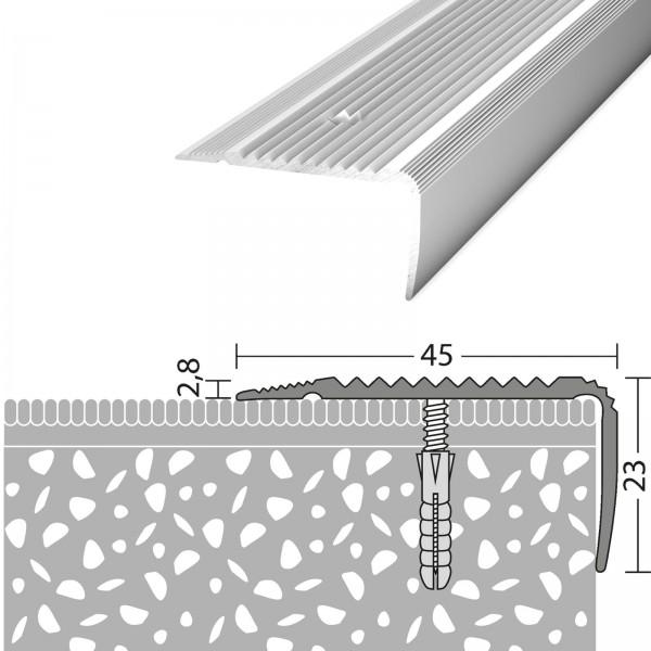 Treppenabschlussprofil 45x23 mm Silber 100 cm - 1701311100