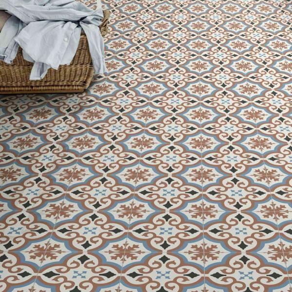 PVC Bodenbelag Fliese Alhambra Rot mit Textilrücken