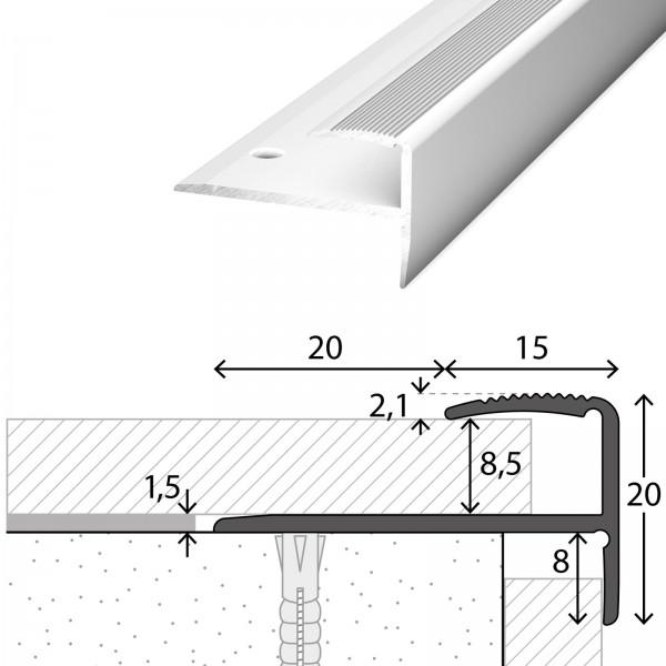 Treppenabschlussprofil 8-9 mm Silber 100 cm - 2721311100